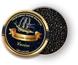 Caviar noir d'esturgeon russe