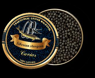 Schwarzer Kaviar des sibirischen Störs